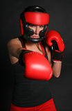 Fighter Girl Red Royalty Free Stock Photography
