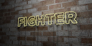 FIGHTER - Glowing Neon Sign on stonework wall - 3D rendered royalty free stock illustration Royalty Free Stock Image