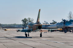 The fighter goes to the runway. Training aircraft L39, Kuschevskaya, Russia, 3 October 2015 royalty free stock images