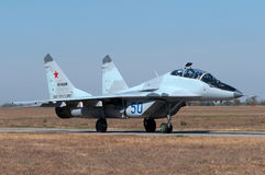 The fighter goes to the runway. Training and combat aircraft MiG-29UB, Kushchevskaya, Russia, October 3, 2015 Royalty Free Stock Image