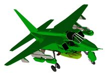Fighter green color army airplane during airshow Stock Images
