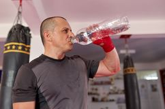 Fighter drinking water royalty free stock images