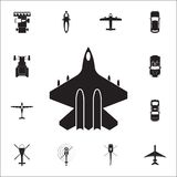Fighter icon. Detailed set of Transport view from above icons. Premium quality graphic design sign. One of the collection icons fo. R websites, web design Royalty Free Stock Photos