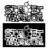 Fighter. Inscription street warrior and brass knuckle. For tattoo or t-shirt design Stock Photo