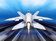 Fighter-interceptor aircraft. White fighter interceptor is landing away from runway Royalty Free Stock Images