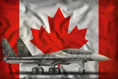 Fighter, interceptor with city camouflage on the Canada state flag background. 3d Illustration. Fighter, interceptor with city camouflage on the Canada flag Royalty Free Stock Image
