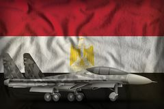 Fighter, interceptor with city camouflage on the Egypt state flag background. 3d Illustration. Fighter, interceptor with city camouflage on the Egypt flag Stock Images
