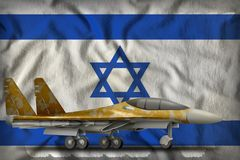 Fighter, interceptor with desert camouflage on the Israel state flag background. 3d Illustration. Fighter, interceptor with desert camouflage on the Israel flag Stock Photography