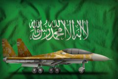 Fighter, interceptor with desert camouflage on the Saudi Arabia state flag background. 3d Illustration. Fighter, interceptor with desert camouflage on the Saudi Stock Photo