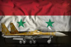 Fighter, interceptor with desert camouflage on the Syrian Arab Republic state flag background. 3d Illustration. Fighter, interceptor with desert camouflage on Royalty Free Stock Images