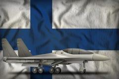 Fighter, interceptor on the Finland state flag background. 3d Illustration. Fighter, interceptor on the Finland flag background. 3d Illustration Royalty Free Stock Images