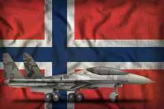 Fighter, interceptor with pixel city camouflage on the Norway state flag background. 3d Illustration. Fighter, interceptor with pixel city camouflage on the stock image