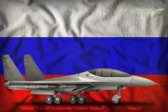 Fighter, interceptor on the Russia state flag background. 3d Illustration. Fighter, interceptor on the Russia flag background. 3d Illustration Royalty Free Stock Image