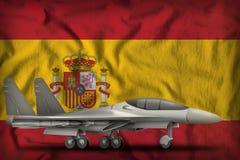 Fighter, interceptor on the Spain state flag background. 3d Illustration. Fighter, interceptor on the Spain flag background. 3d Illustration Stock Images