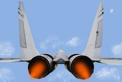 Fighter jet. Russian fighter jet over clouds, illustration Royalty Free Stock Photography