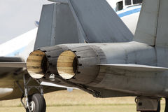 Fighter jet engines ready to go Stock Images