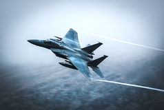 Fighter jet F15. Fighter jet in flight, F15 C model in show of force flight Stock Photo