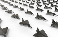 Fighter jet fleet on ground illustration. 3D render illustration of a large fighter jet fleet positioned on ground. The composition is isolated on a white Royalty Free Stock Image