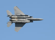 Fighter jet in flight. Modern US Air Force jet at high speed stock images