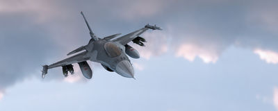 Fighter jet. In the flight Royalty Free Stock Image