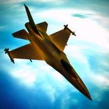 Fighter jet flying against a blue sky, 3d illustration. Fighter jet loaded with missiles flying against a blue sky Stock Image