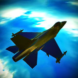 Fighter jet flying against a blue sky, 3d illustration. Fighter jet loaded with missiles flying against a blue sky Stock Image