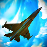 Fighter jet flying against a blue sky, 3d illustration Royalty Free Stock Image