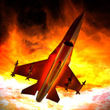 Fighter jet flying against a blue sky, 3d illustration. Fighter jet loaded with missiles flying against a blue sky Stock Photography