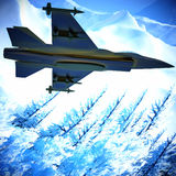 Fighter jet flying against a blue sky, 3d illustration Stock Photos