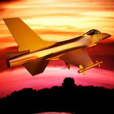Fighter jet flying against a blue sky, 3d illustration Royalty Free Stock Photography