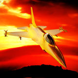 Fighter jet flying against a blue sky, 3d illustration Stock Photo