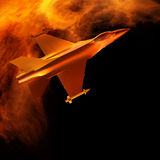 Fighter jet flying against a blue sky, 3d illustration Stock Image
