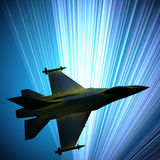Fighter jet flying against a blue sky, 3d illustration Royalty Free Stock Photo