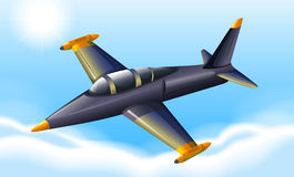 A fighter jet flying. Illustration of a fighter jet flying Royalty Free Stock Images