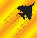 Fighter Jet Flying. A fighter jet silhouette flying on an orange and yellow background Royalty Free Stock Images