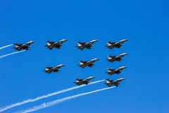 fighter jet formation flyby royalty free stock photos