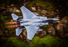 Fighter jet in full reheat afterburners Royalty Free Stock Photos