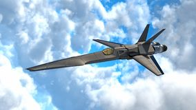 Fighter Jet, futuristic military airplane flying in clouds, 3D render. Ing Stock Photography