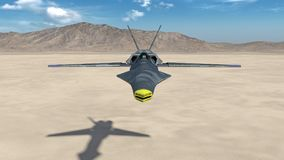 Fighter Jet, futuristic military airplane flying over a desert with mountains in the background, front view, 3D render. Ing Royalty Free Stock Images