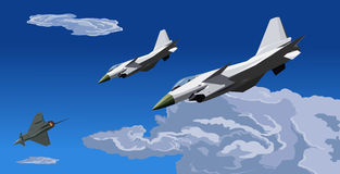 Fighter jet-J-10 -pursue and attack-illustration. The China new intercepter fighter -J-10 -pursue and attack Royalty Free Stock Photography