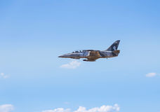 Fighter jet military aircraft flying on  blue sky Royalty Free Stock Photography