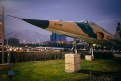 Fighter jet in museum in Tehran. Fighter jet in museum, museum of islamic revolution and holy defence stock images