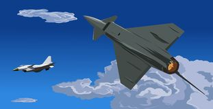 Fighter jet-pursue and attack-illustration Stock Photography