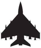 Fighter Jet Silhouette. A fighter jet silhouette isolated on a white background Royalty Free Stock Photography