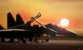 Fighter jet on standby ready to take off Royalty Free Stock Photos
