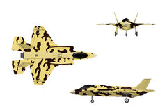 Fighter jet. War plane in flat style. Military aircraft in top,. Side, front view. Vector illustration Stock Image
