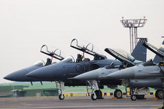 Fighter Jets. A telephoto shot taken on fighter jets in a row ready for take-off Stock Photography