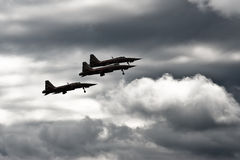 Fighter jets. 3 f5 freedom fighters taking off in cloudy conditions Royalty Free Stock Photo