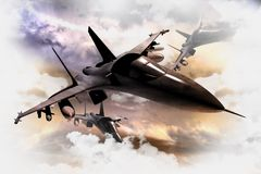 Fighter Jets in Action. Tree Air Force Fighter Jets in Action 3D Render Illustration. Fighter Jets Between Clouds. Military Illustration Collection Royalty Free Stock Image