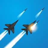 Fighter Jets Fired A Missiles Royalty Free Stock Photography